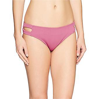 Brand - Mae Women's Swimwear Double Strap Hipster Classic Coverage Bikini Bottom,Berry,Small