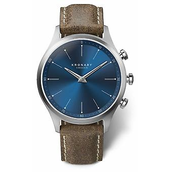 Kronaby 41mm SEKEL blauwe wijzerplaat truffel lederen riem A1000-3759 S3759/1 horloge
