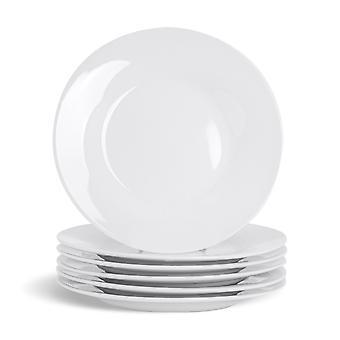 """6-osainen valkoinen sivulevysarja - klassiset posliinileipälautaset Jälkiruokalautaset - 154mm (6"""")"""