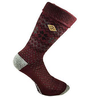 Farah Burgundy & Grey Patterned Men's Socks