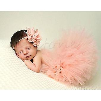 Newborn Baby Girl Tutu Skirt & Headband Photo Prop Costume Outfit