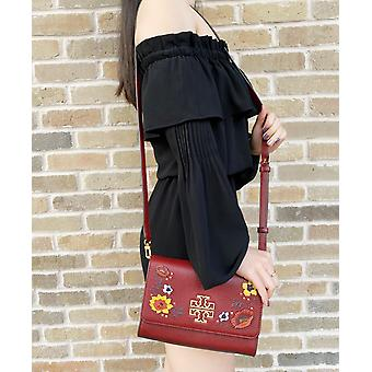 Tory burch britten embellished combo crossbody pebbled leather blood red floral