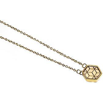 Collar BeWooden Virie Hexagon - Oro/Marrón