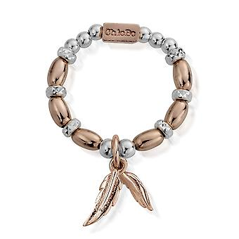 ChloBo MRM1585 Women's Dainty Double Feather Ring