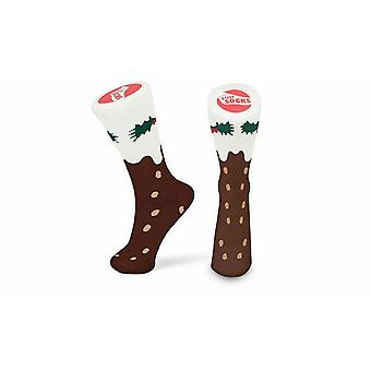 Tobar Slipper Cotton Socks, Ankle-High Size 5-11 for Adults, Christmas Pudding