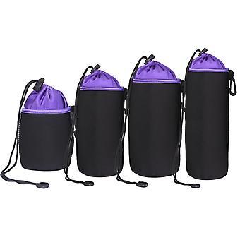 4 in 1 SLR Camera Lens Bag Micro Single Lens Bag Lens Inner Bile Bag Waterproof Protective Case Plus Velvet Thickening (Purple)