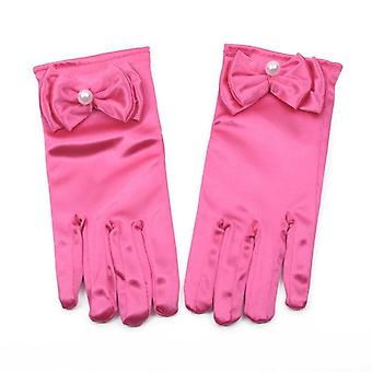 Lovely Elastic Etiquette Performance Gloves Pearl Flower Lace Bow Short
