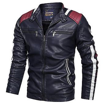 Men & apos;s دراجة نارية جلدية جاكيت, الشتاء عارضة معطف الدراجة النارية ذكر, حامل طوق,