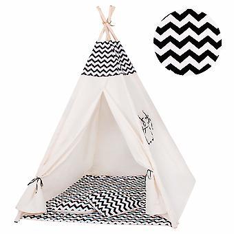 Tiipii teltta siksak musta - 120x100x160 cm
