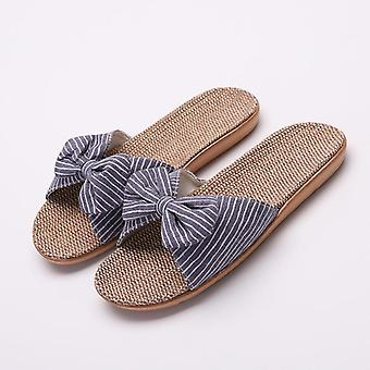 Eva Stripes Bow Home Slippers & Cotton Indoor Shoes Linen Slippers, Flip Flops