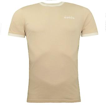 Diadora Beige Bleached Short Sleeved Crew Neck Mens T-Shirt 25073