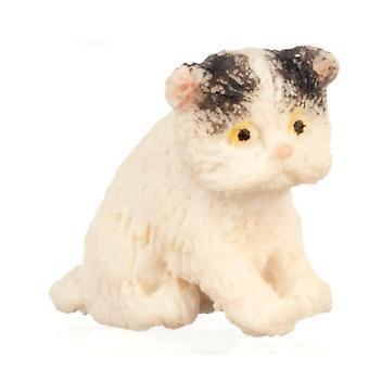 Poppen Huis Zwart & Witte Perzische Kitten Zit Miniatuur Huisdier Kat 1:12 Schaal