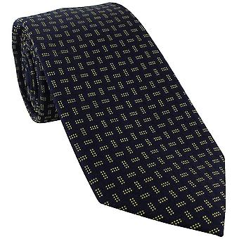 Michelsons of London Dotted Lattice Silk Tie - Yellow/Navy