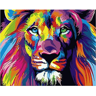Komking diy painting paint by numbers kit for adults beginner, colorful animals painting on canvas 6