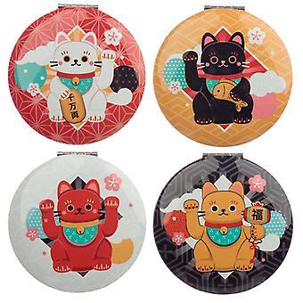 4 Fun colecionável gato sortudo maneki neko espelhos compactos