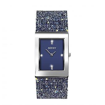 Seksy Rocks® Ladies' 2758 Blue Swarovski Crystal Bracelet Watch