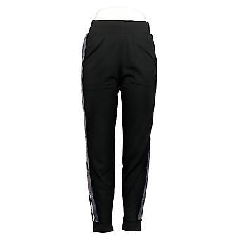 LOGO de Lori Goldstein Women's Pants Jogger W/ Tuxedo Stripe Black A368797
