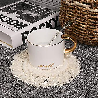 4-pack Handmade Macrame Coasters Round Drinks Cotton Boho Woven Coaster Set