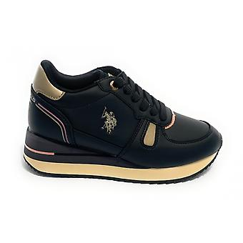 Schoenen Us Polo Sneaker Dames Running Sylvi Club In Ecopelle Black D21up07