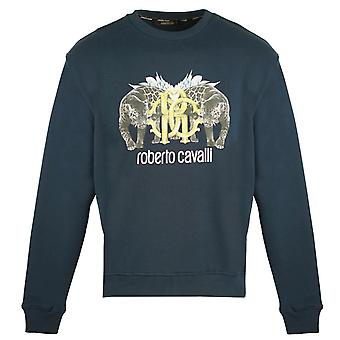 Roberto Cavalli Mirrored Wild Cat Logo Navy Jumper
