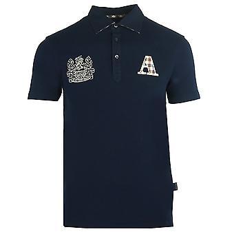 Aquascutum Sprawdź koszulkę polo z logo Navy