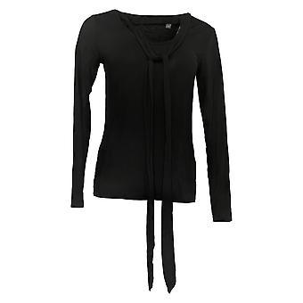 Lisa Rinna Collection Dames's Top Solid Neck Tie Lange Mouw Zwart A345861