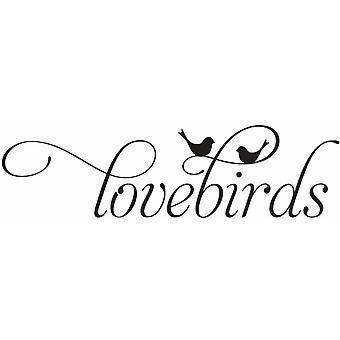 Hampton Art Wood Mounted Stamp - Lovebirds
