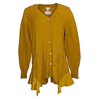 LOGO By Lori Goldstein Women's Sweater Cotton Blend Cardi Yellow A369084
