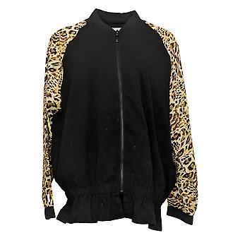 Belle by Kim Gravel Women's Jacket Mixed Media Bomber Black A367275