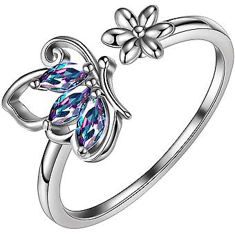 AuroraTears 925 Sterling Silber Schmetterling Halskette Ohrringe Ringe Birthstone Schmuck Set