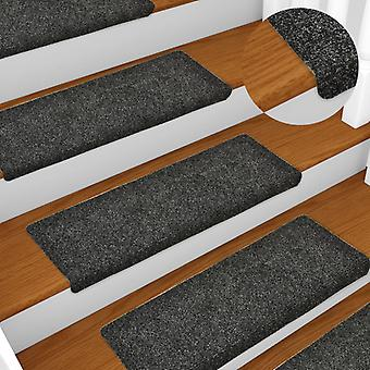 vidaXL Stair mats 15 pcs. needle fleece 65x25 cm Grey