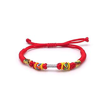 BENAVA Tibetan bracelet Tibetan bracelet Buddhist jewelry and metal base, color: Color: red, cod. 100000-Rot