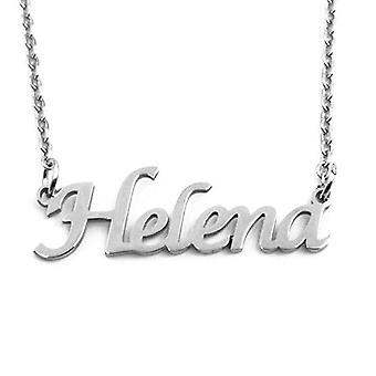 """L Helena - Adjustable necklace with custom name, silver tone, 16""""- 19"""