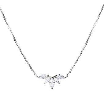 Diamonfire Womens 925 Sterling Silver Rhodium, Palladium & Platinum Plated Clear Cubic Zirconia Marquise Leaf Design Halsband av längd 40cm - 45cm