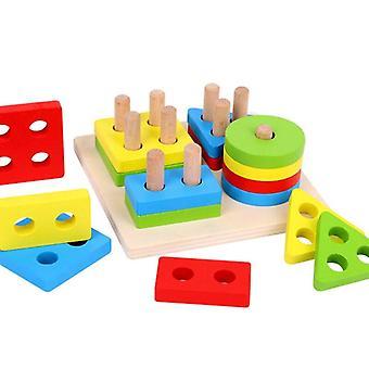 التعليمية الملونة خشبية خشبية الفرز المجلس مونتيسوري الأطفال التعليمية لعب كومة بناء