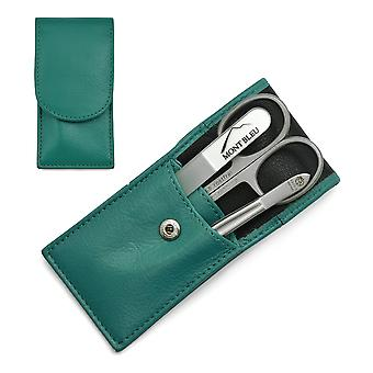 Hans Kniebes' Sonnenschein 3-piece Manicure Set in Nappa Leather Case, Made in Germany - Petrol