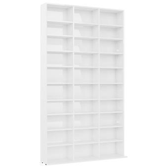 vidaXL CD shelf high gloss white 102x23x177.5 cm chipboard
