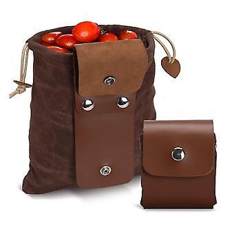 Ruskea kangas ravinnonhankinta hedelmätarha pussi kokoontaitettava vyötärö hedelmien poiminta laukku ripustettu työkalu vaellus sieni poiminta dt5446