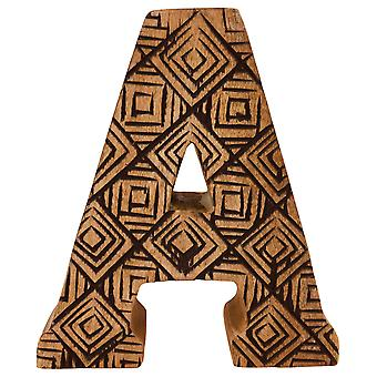 Letter A Hand Carved Wooden Geometric