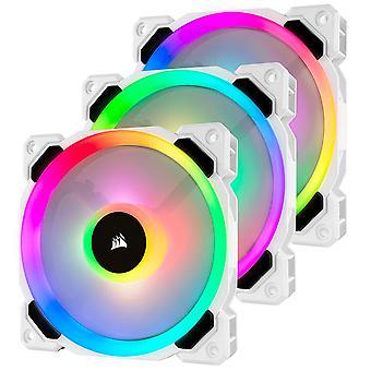 Corsair LL120 12cm PWM RGB Case Fan x3, 16 LED RGB - White, 3 Pack