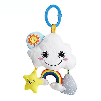 White Cloud Rattle Toys With Bell Sound Paper Teether Mirror Plush Baby Hanging Toys Colorful Rattling Doll For Infant