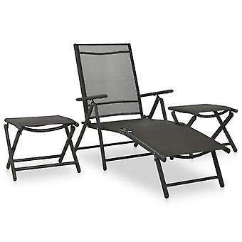 vidaXL 3 pcs. Garden Lounge Set Textilene and Aluminium Black