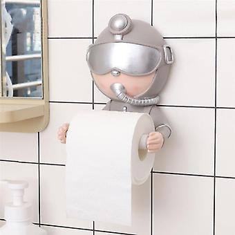 1PC Creative Diver Roll Paper Rack No Punching Toilet Tissue Holder(Silver)