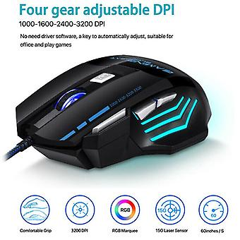 Gaming Mouse Anti-slip 7 Button USB Wired LED Breathing Fire Button