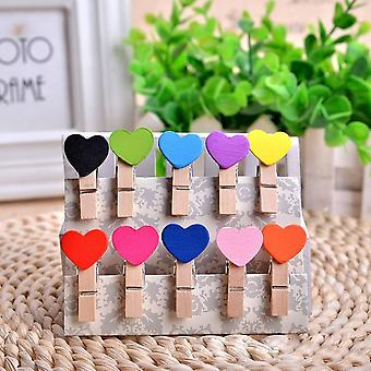 Decoration Wooden Photo Clips Mixed Colors Heart Shape Photo Clips With Rope