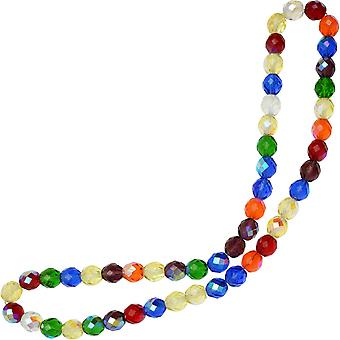 Czech Fire Polished Glass Beads, Faceted Round 10mm, 50 Pieces, Rainbow AB Mix