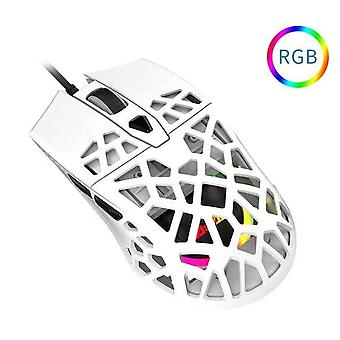 Ny lätt symmetrisk ergonomisk bikakedesign RGB-spelmus för spelare| Möss(vita)