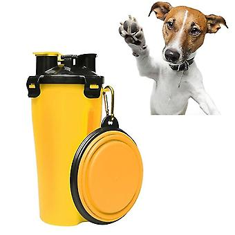 Pet Outdoor Portable Dual-use Water and Food Cup with A Folding Bowl (Yellow)
