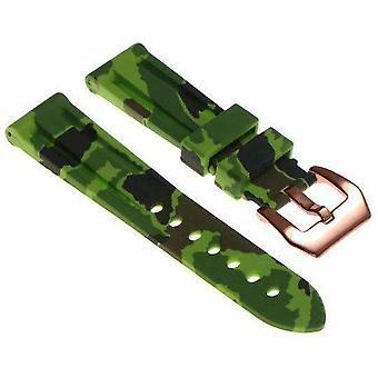 (22mm) groene camouflage siliconen horlogeband met roségouden pre-v gesp