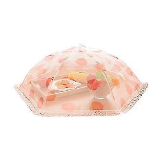 Creative Home Furnishing Lace Printing Practical Mesh Folding Umbrella Meal Cover Kitchenware(Pink)